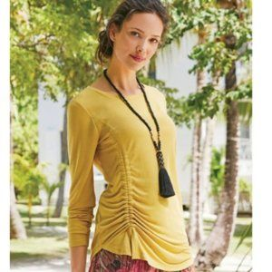 SOFT SURROUNDINGS Yellow Ruche Long Sleeve Top